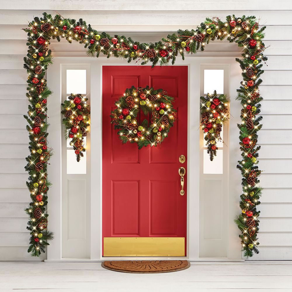 The Cordless Prelit Ornament Holiday Trim Hammacher Schlemmer Christmas Door Decorations Front Porch Christmas Decor Christmas Porch