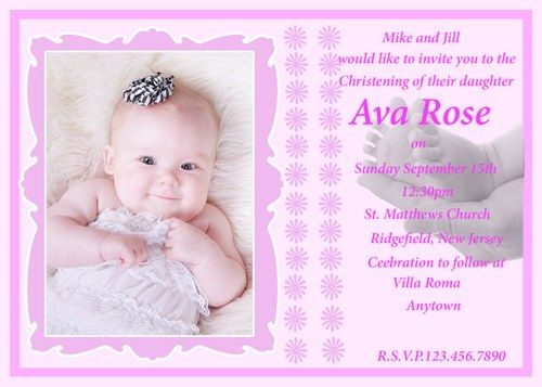 17 Best images about Baptism Ideas – Baby Dedication Invitation Card