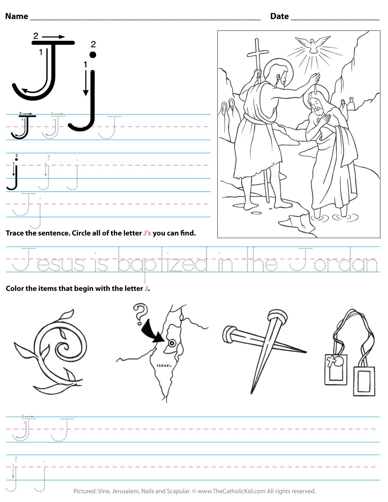 Catholic Alphabet Letter J Worksheet Preschool