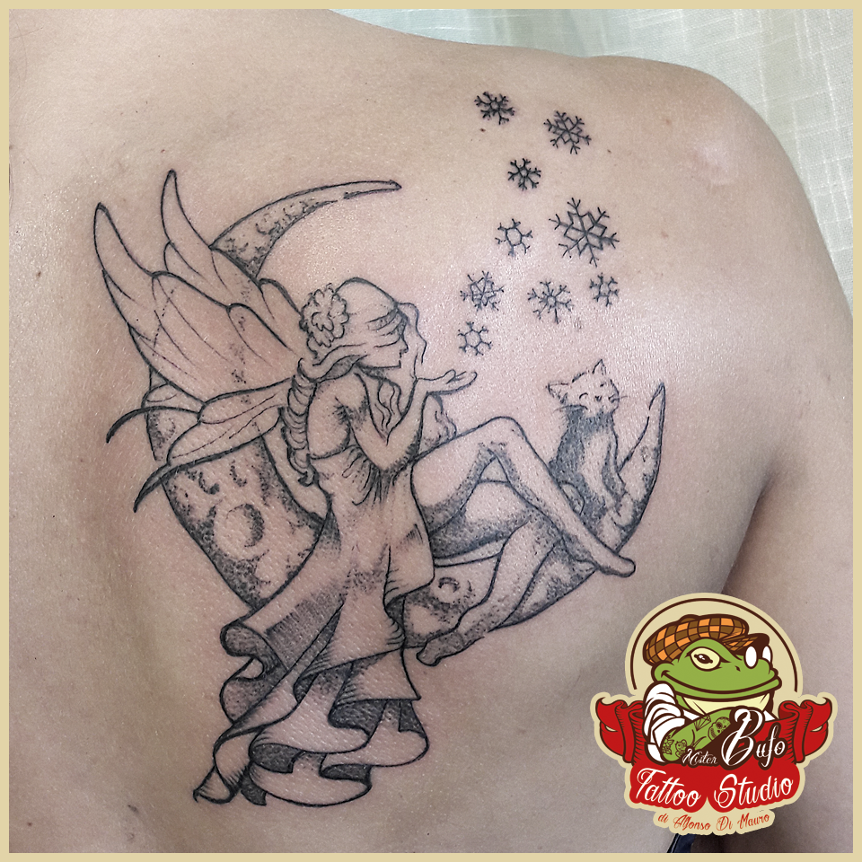 Sweet moon fairy tattoo for a girl. #misterbufo #misterbufotattoo ...