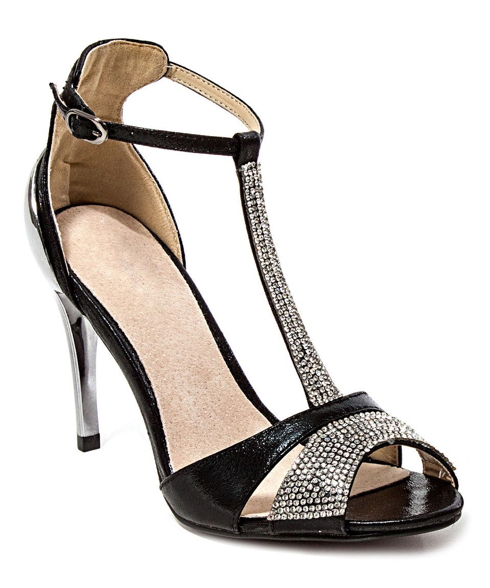 Loving this Lady Couture Black Aruba T-Strap Peep-Toe Sandal on #zulily! #zulilyfinds