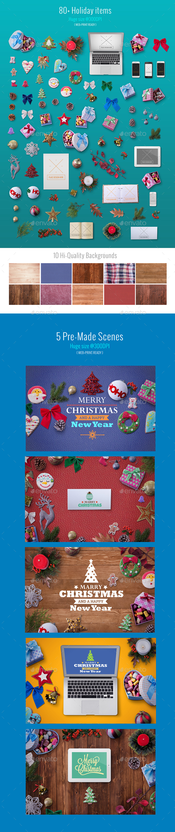 Winter Holidays Scene Generator psd postcard