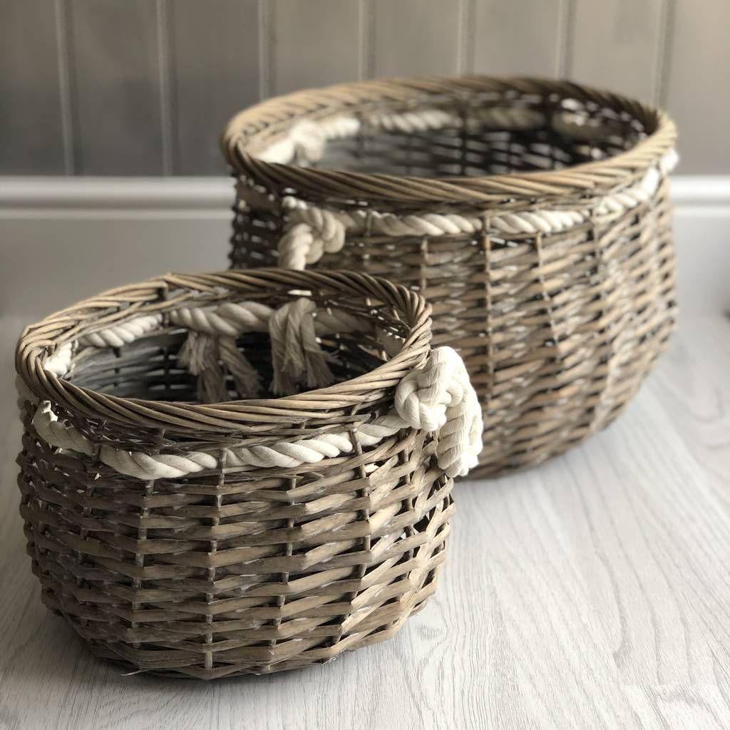 Set Of Two Nautical Storage Baskets Storage Baskets Grey Wicker