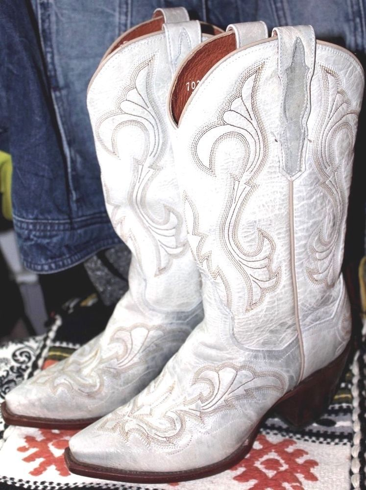 3d06638c9d5 DAN POST El Paso Ivory Distressed Leather Cowgirl Cowboy Boot Women ...