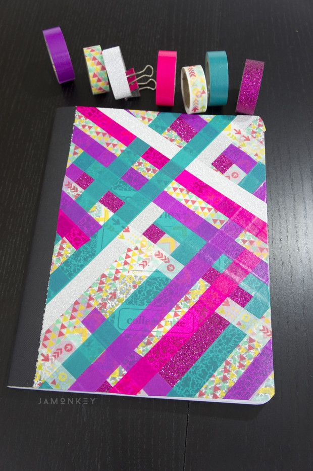 Washi tape notebook i love this what an easy way to for Back to school notebook decoration ideas