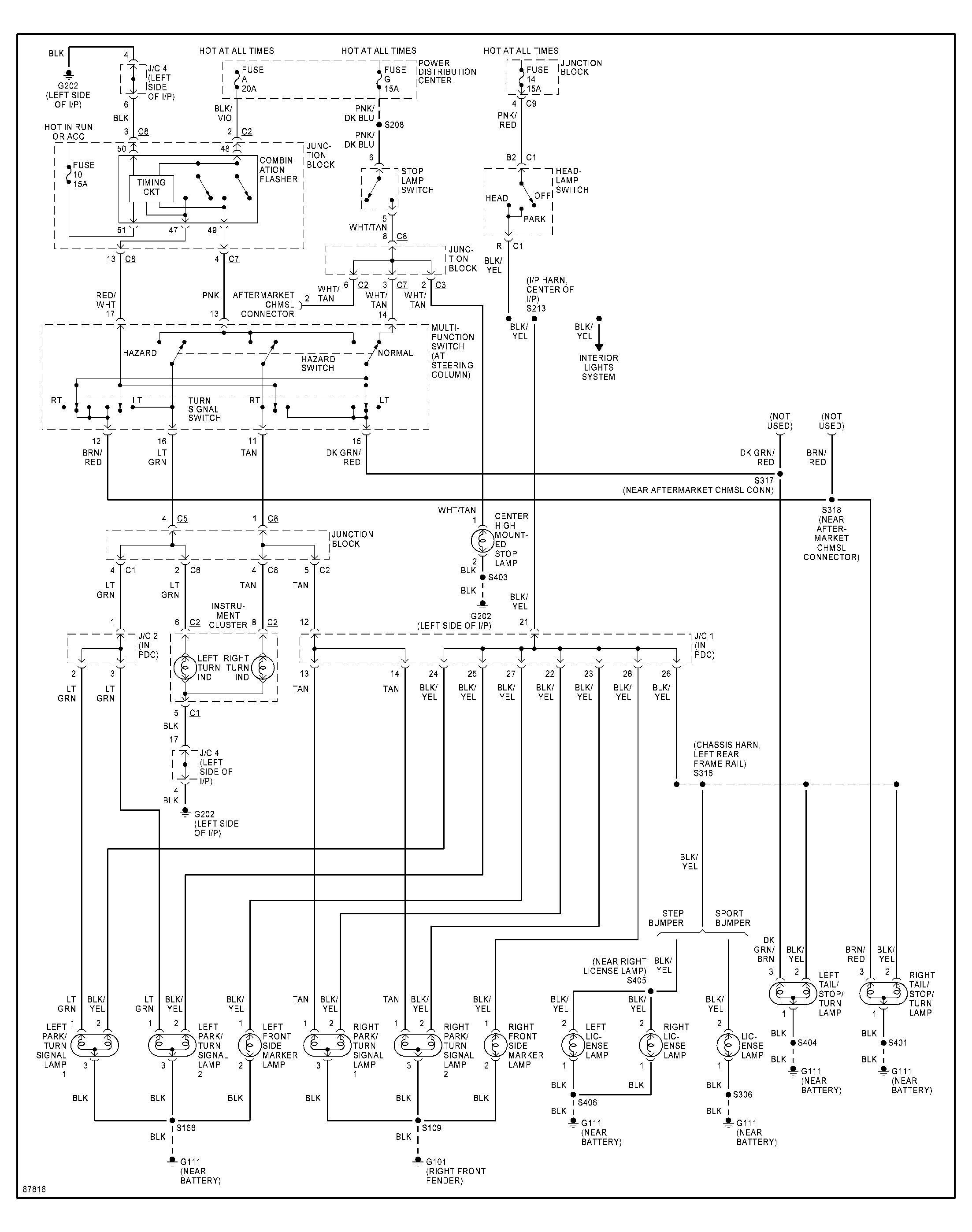 Main Wiring Harness Diagram 1998 Dodge Dakota