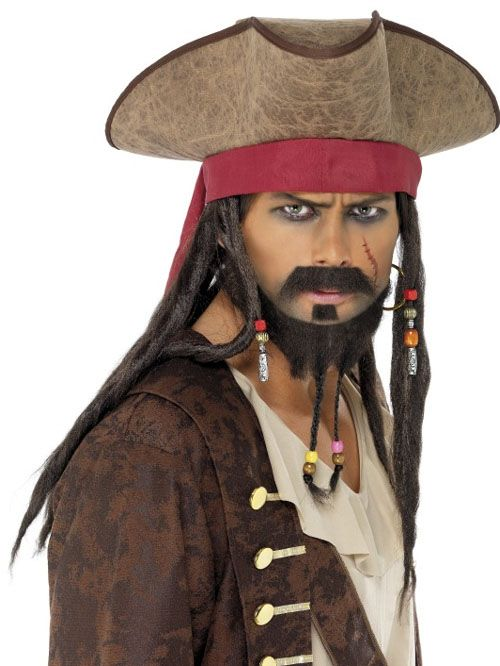 CAPTAIN JACK SPARROW DELUXE PIRATE HAT WITH DREADLOCKS CHILD BOYS COSTUME WIG