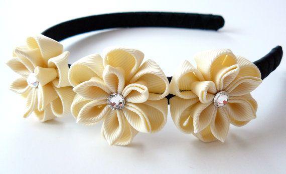 Ivory Kanzashi Fabric Flower headband by JuLVa on Etsy, $18.00