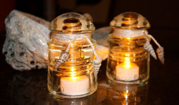 Two Repurposed Pyrex Glass Electrical Insulators By