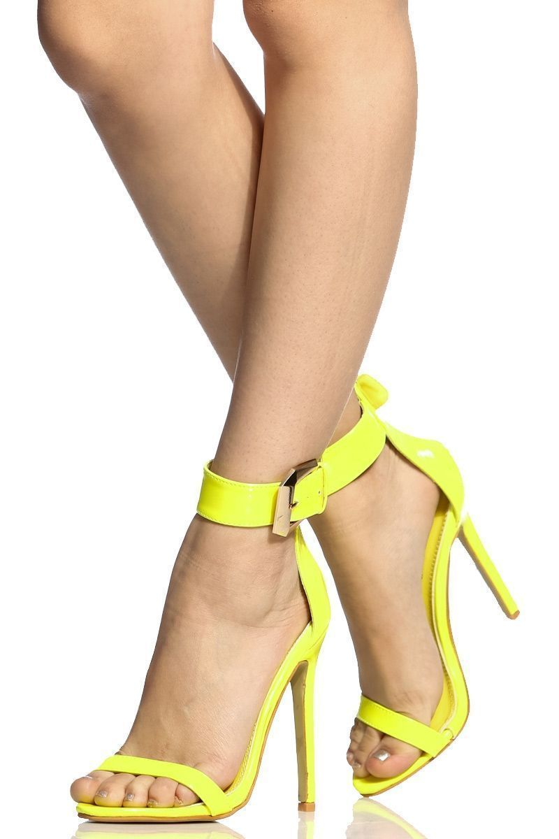 Neon yellow faux patent leather ankle strap stiletto heels cicihot