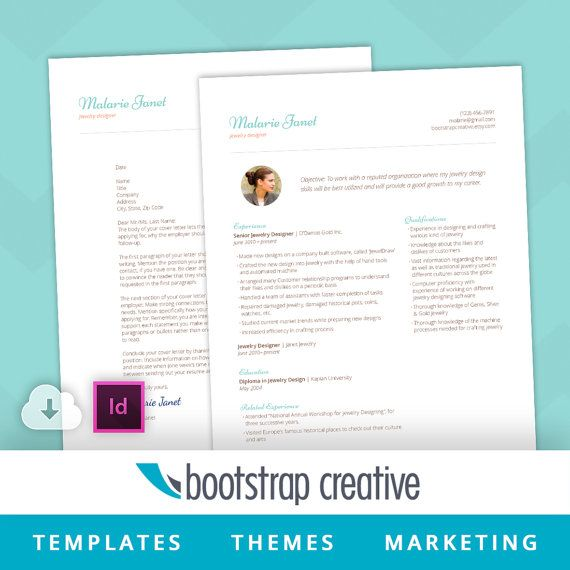 Professional Resume Indesign Template By Bootstrapcreative On Etsy