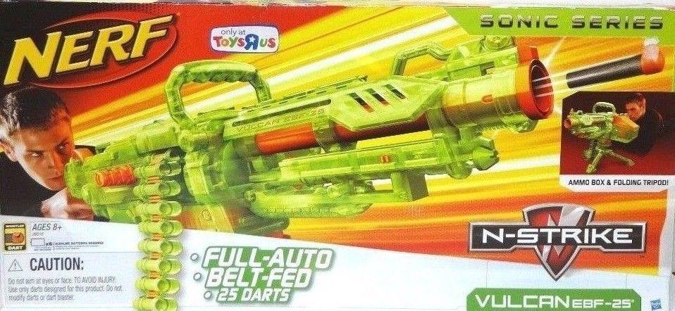 RARE Nerf N Strike Sonic Series GREEN Vulcan EBF-25 Blaster Machine Gun  2010 HTF