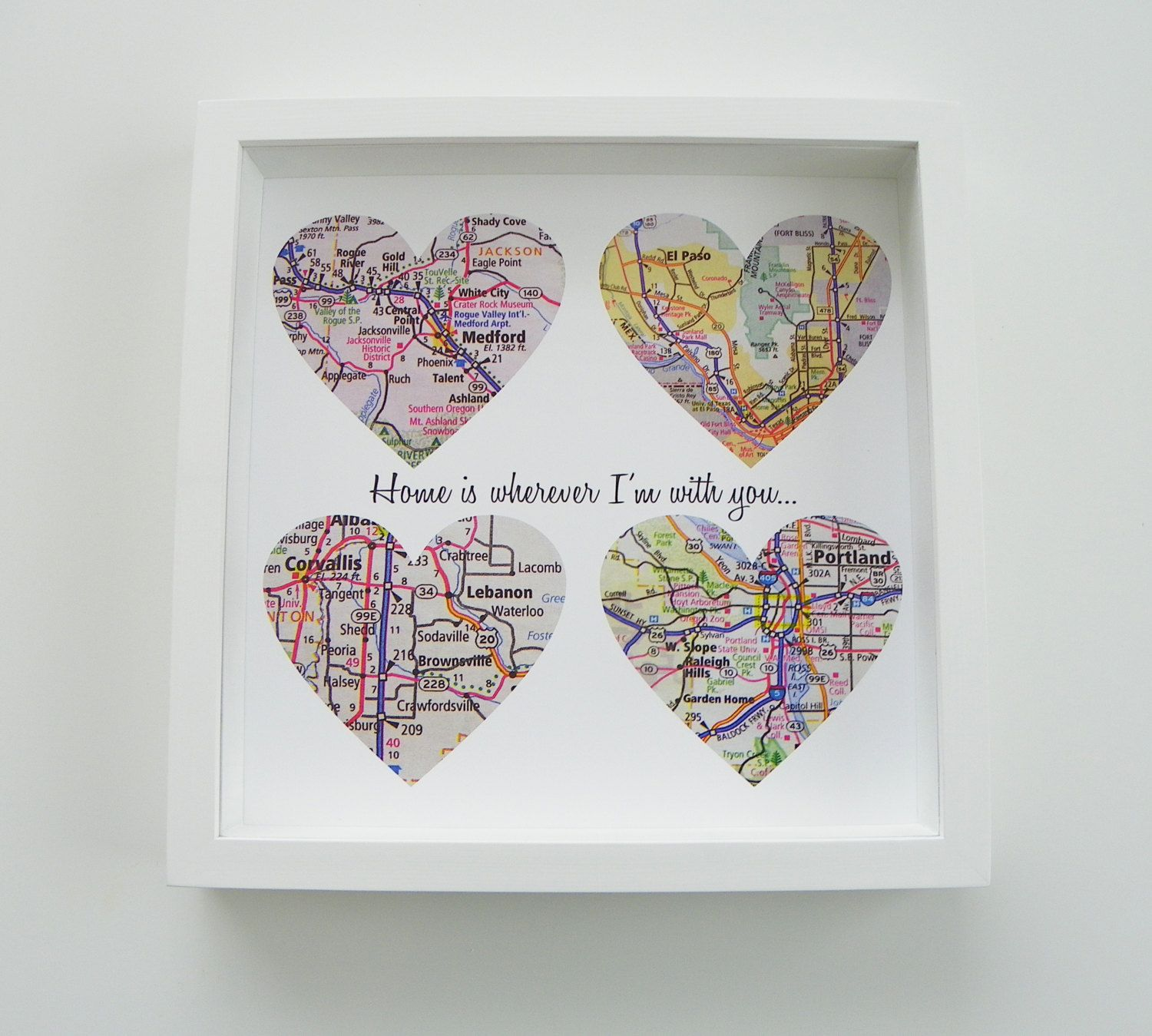 Unique Wedding Gift Personalized Map Heart Art Gift
