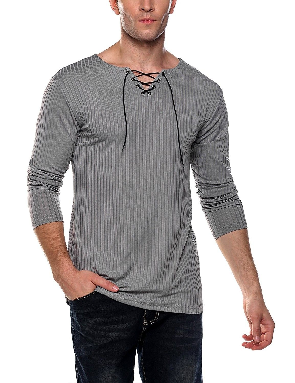 964d30ab840 Mens Long Sleeve Casual T-Shirt Lace Up V-Neck Solid Ribbed Shirt ...
