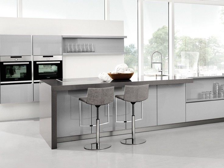 Kitchen Trends Light Grey Gloss Lacquer With Contrasting