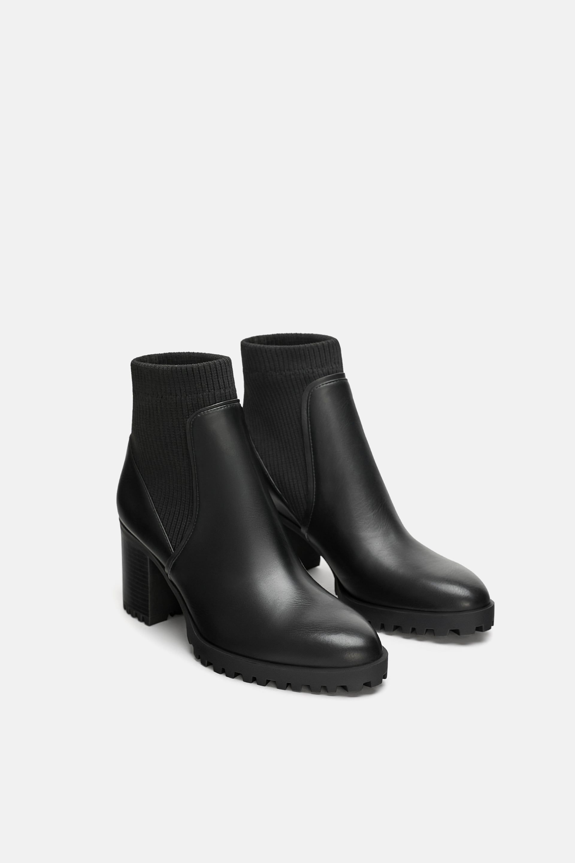 89271df75c41 Image 1 of SOCK STYLE HEELED ANKLE BOOTS WITH LUG SOLES from Zara