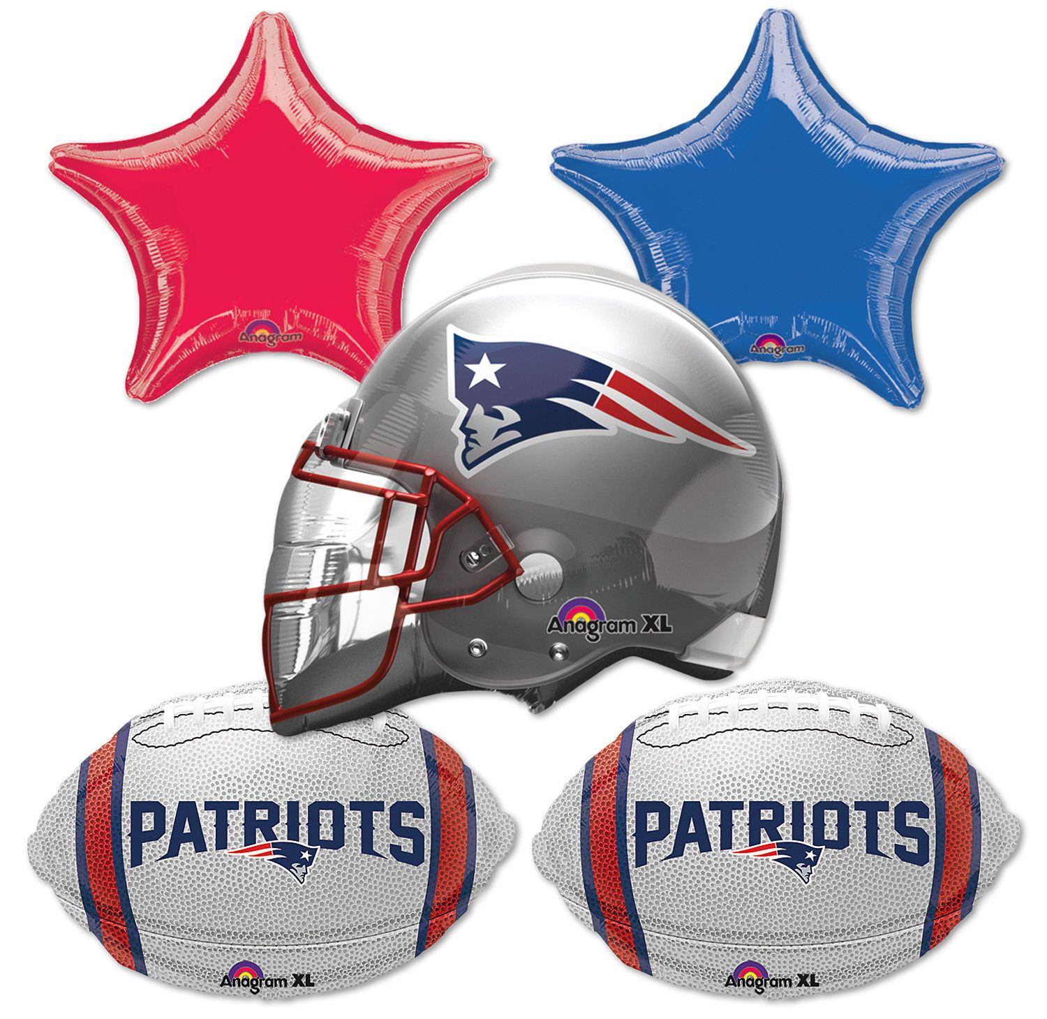 Anagram England Patriots Football Bouquet 5pc Balloon Pack Navy Silver Red Patriots Balloon Gift Nfl Patriots