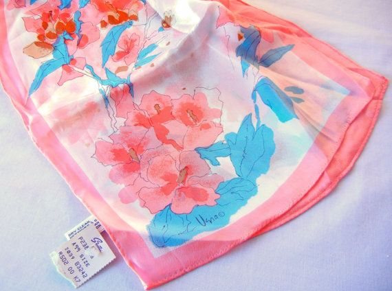 Vera Neumann Silk Scarf, Peach and Blue Spring Floral, Late 60s Designer, Unused Unworn with Tags