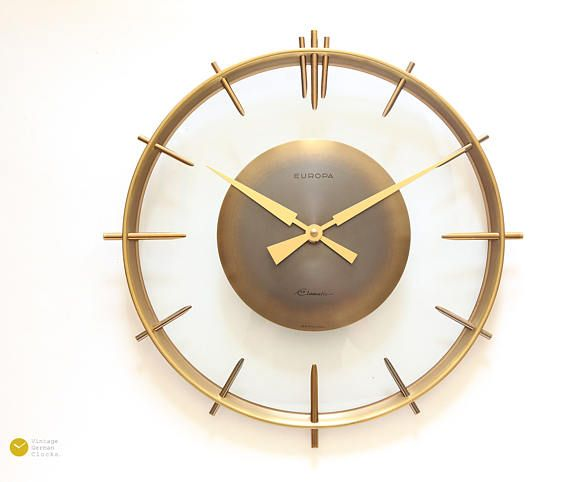 Stunning ART DECO Wall Clock EUROPA Germany Bauhaus 50s Mid