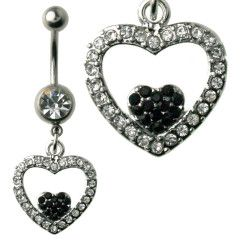 Heart Inside Heart Clear & Black Gems Dangle Belly Ring Surgical Steel