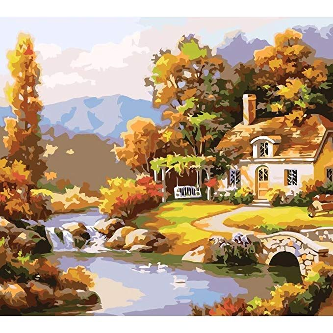 Painting Supplies Frameless Paint by Numbers Kits DIY Canvas Oil Painting for Kids Adults Students