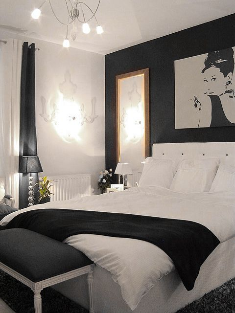 Black & white bedroom | repinned by PeachSkinSheets.com ...