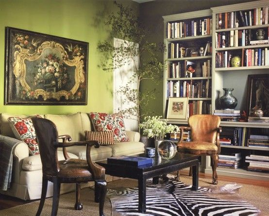 Schuyler Samperton + green sort-of-traditional living room + zebra rug