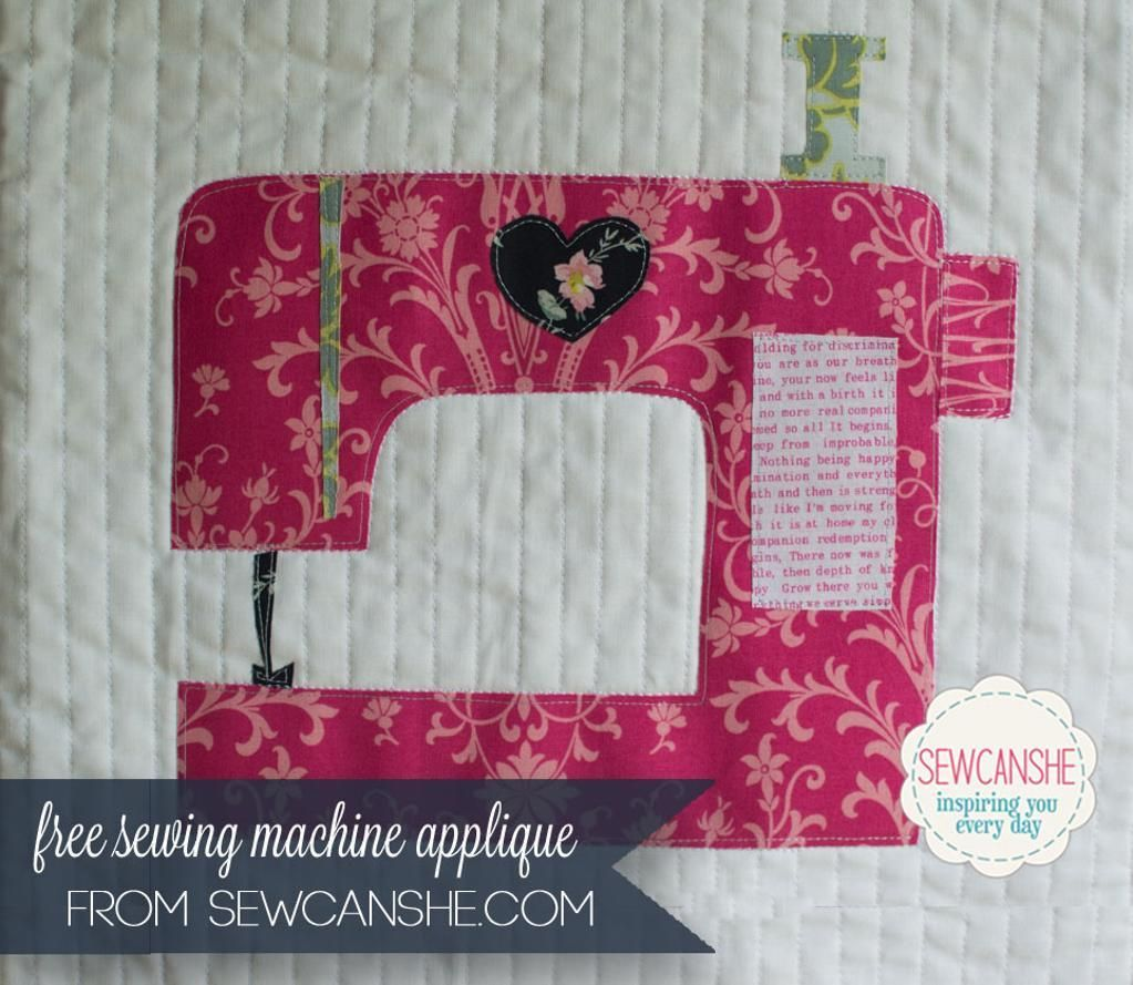 """This free sewing pattern is the """"Sewing Machine Applique""""  Awesome"""