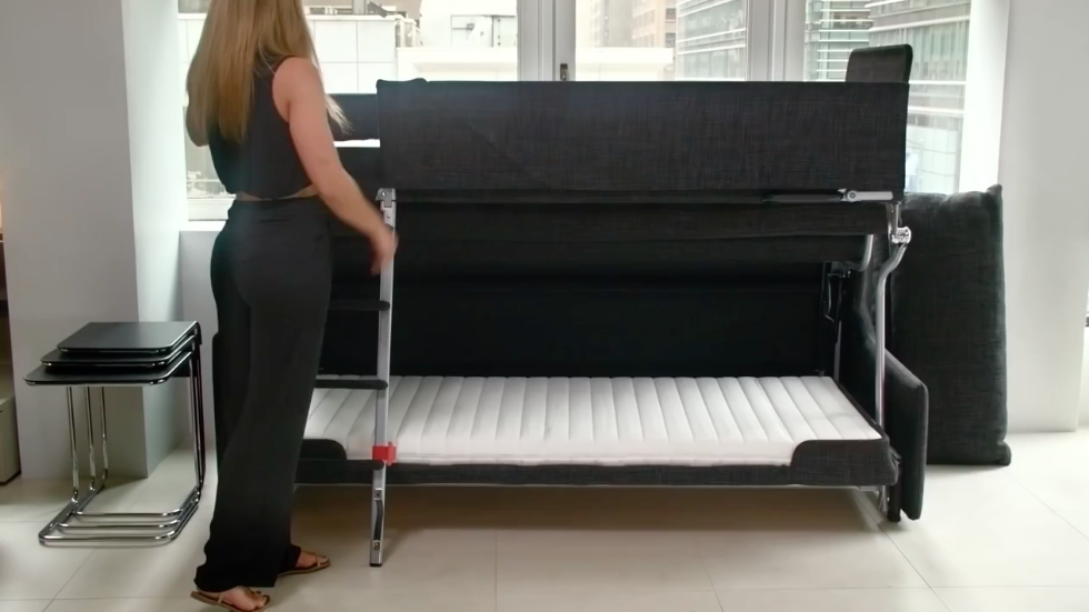 Woman turns sofa into bunk bed, other space saving