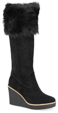 6f397df5e349 UGG Valberg Fur   Suede Wedge Boots