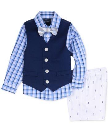 9d3161178 Nautica Baby Boys 4-Pc. Plaid Shirt, Vest, Shorts & Bowtie Set in ...