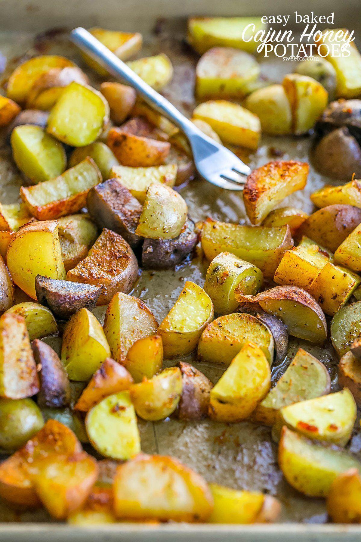 Honey Cajun Roasted Potatoes @FoodBlogs