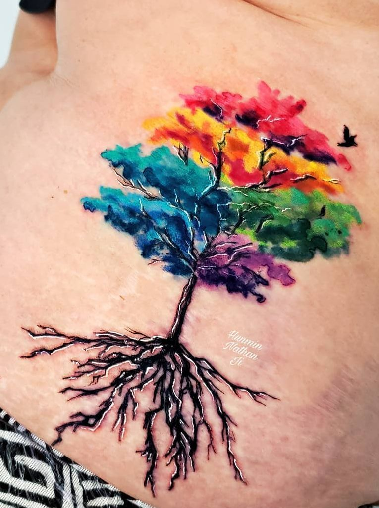 Watercolor Tree Tattoo C Tattoo Artist Hunmin Nathan Ji