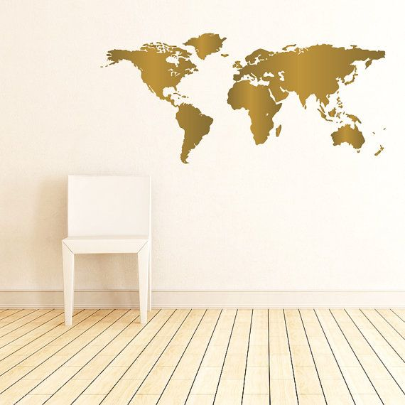 Personalize your space with this bold world map wall decal personalize your space with this bold world map wall decal gumiabroncs Choice Image