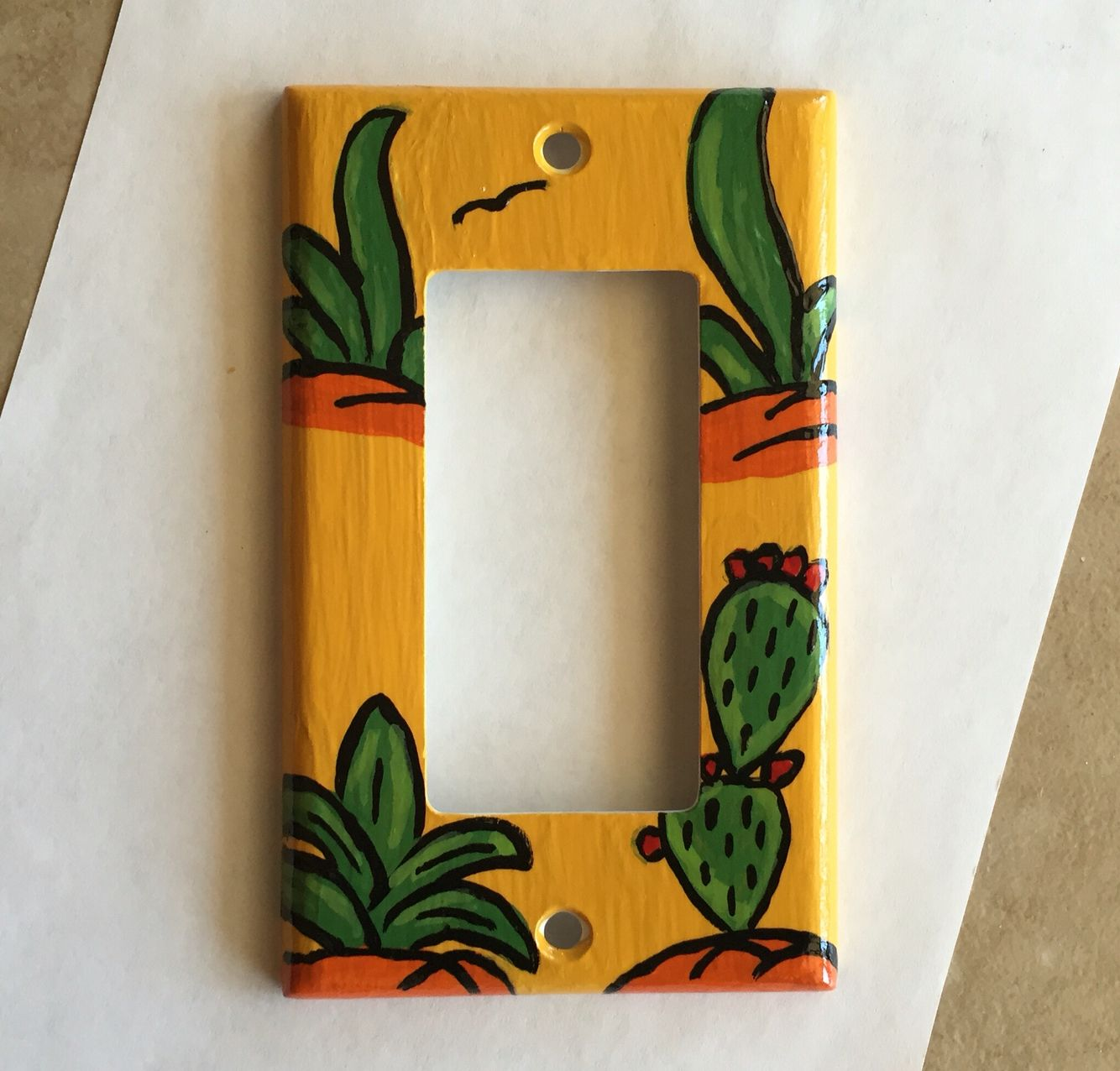 Cactus Painted Light Switch Light Switch Art Diy Painting