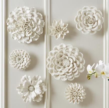 A30784 Set Of 7 White Porcelain Garden Flower Wall Sculptures