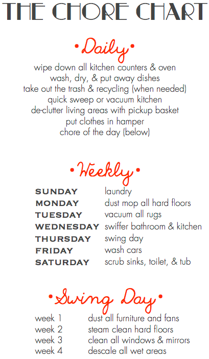 a simple chore chart to make housework a little more fun