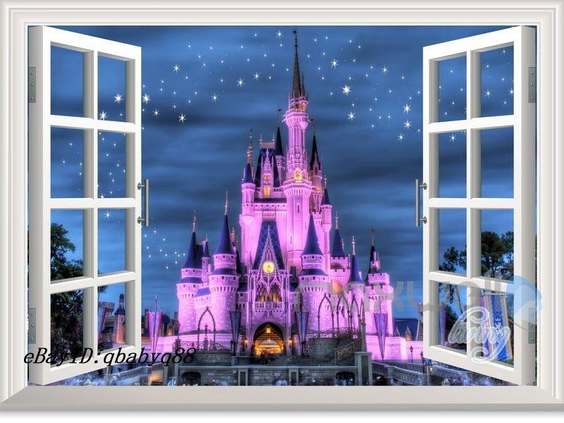 60X80cm Disney Princess Castle Star 3D Window Wall Decals Stickers Kids  Decor