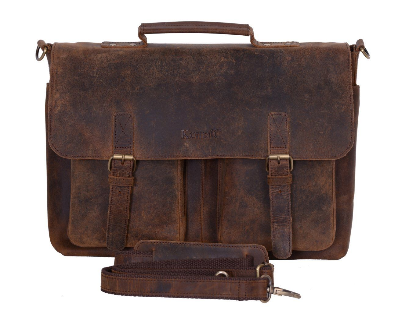 f40183625e Amazon.com  KomalC 15 Inch Retro Buffalo Hunter Leather Laptop Messenger Bag  Office Briefcase College Bag  Computers   Accessories