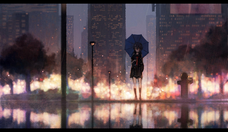 Anime Anime Girls Umbrella Urban Standing Cityscape Rain 2k Wallpaper Hdwallpaper Desktop Anime Art Beautiful Anime Art Dark 2048x1152 Wallpapers