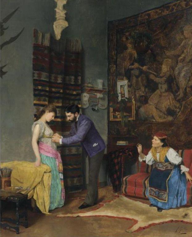 Ράλλης Θεόδωρος-The artist's studio by Theodoros Ralli (Greek 1852-1909)