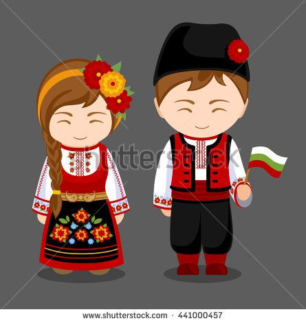 Bulgarians In National Dress With A Flag A Man And A