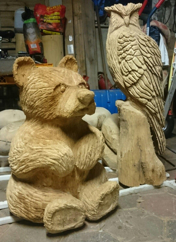 carving bear kettensägenkunst bär und uhu | wood carving | pinterest