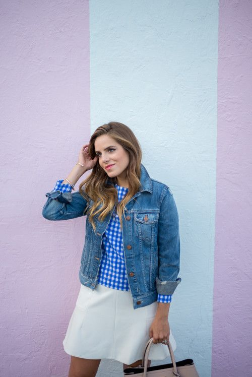 Blue Gingham Top, Jean Jacket and White Skirt