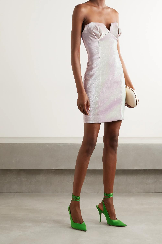 Blush Strapless Iridescent Lame Mini Dress Area Mini Dress Mini Dress Fashion Blush Cocktail Dress [ 1500 x 1000 Pixel ]