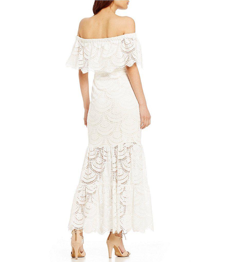 65b93259ae Ivory Gianni Bini Reina Off-the-Shoulder Short Sleeve Lace Maxi Dress