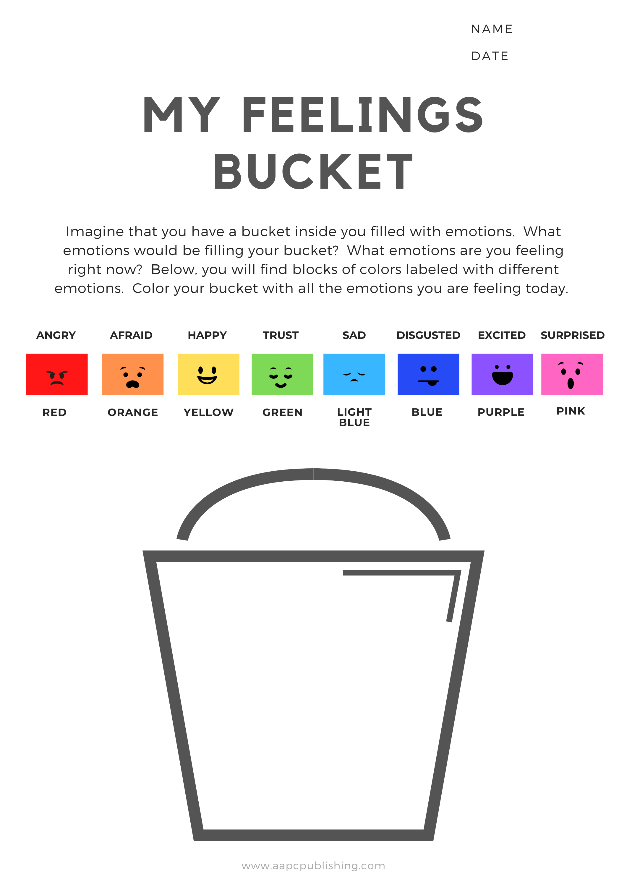 My Feelings Bucket Worksheet Visual Expression Of