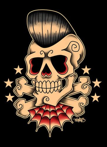Pompadour Skull Rockabilly Pin UpRockabilly TattoosRockabilly