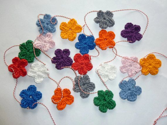 Crochet Flower Garland 20 Flowers Crochet Banner Gift Under 20 Uncinetto