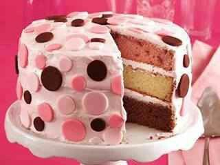 Could be baby gender reveling cake, change the outside to white :)